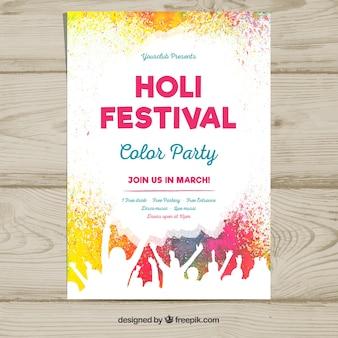 Шаблон плаката для вечеринки фестиваля холи