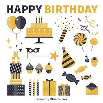 黒と黄色の誕生日パーティー要素