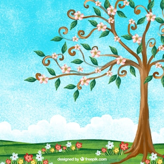 美しい木の水彩春の風景