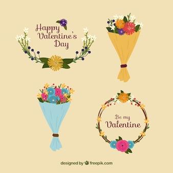 バレンタインの花輪と花束のコレクション