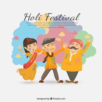 Люди празднуют фон фестиваля холи в плоском стиле