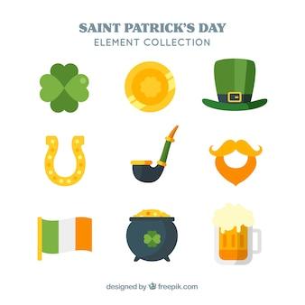 聖パトリックの日のフラットな要素のコレクション