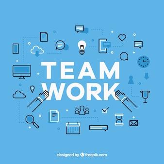 フラットデザインのチームワークの背景