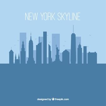 フラットスタイルのシルエットニューヨークスカイラインの背景