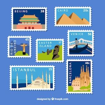 Коллекция городских марок в плоском стиле