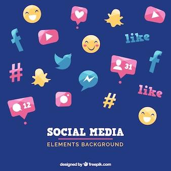 フラットスタイルのソーシャルメディア要素の背景