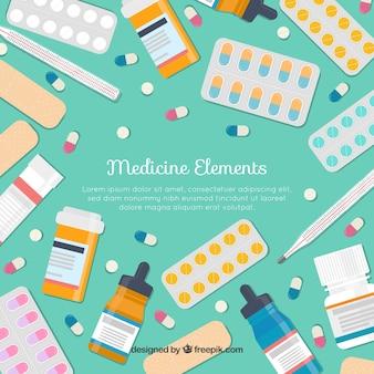 フラットスタイルの薬要素の背景