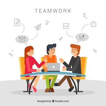 Работа в команде в плоском стиле
