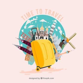 ランドマークとイエロースーツケース