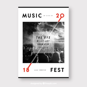 フラットスタイルの音楽祭ポスター
