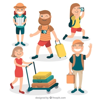フラットスタイルで旅行する人々