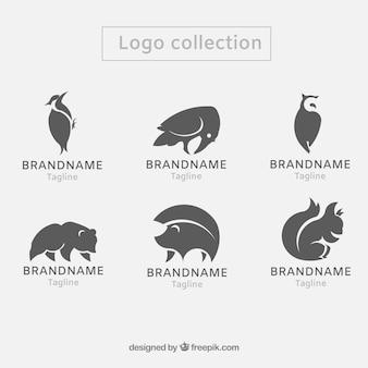 Современный набор логотипов животных