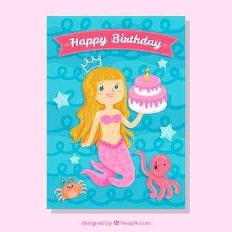 人魚誕生日カード
