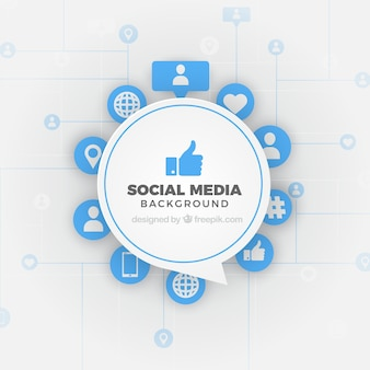 フラットスタイルのソーシャルメディアの背景