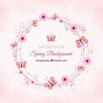 ピンク色の水彩春の背景