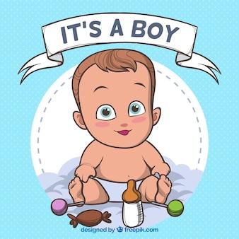 それは手描きのスタイルで少年の背景です