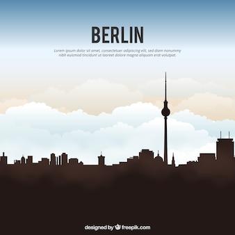 ベルリンのスカイラインシルエットの背景