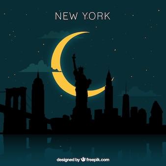 夜のニューヨークのスカイラインデザイン