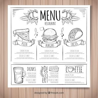Шаблон меню ресторана с ручным рисунком