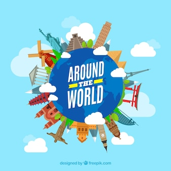世界中のランドマークが付いている旅行の背景