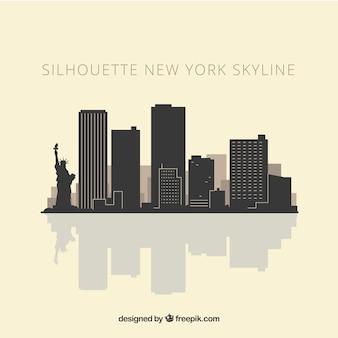 ニューヨークのスカイラインのシルエット