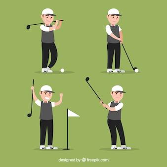 フラットスタイルの男性とゴルフスイングコレクション
