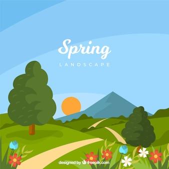 Весенний пейзаж в плоском стиле