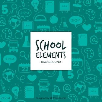 Фон школьных элементов с учебными принадлежностями