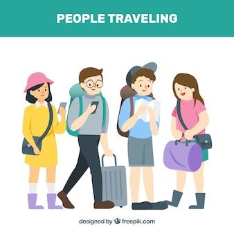 Четыре друзей, путешествующих