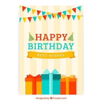 Поздравительная открытка с тортом и подарочной коробкой в плоском стиле