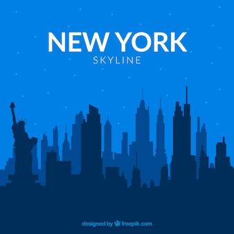 Скайлайн нью-йорк в синих тонах