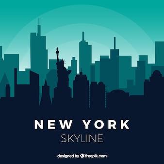 緑のトーンでニューヨークのスカイライン