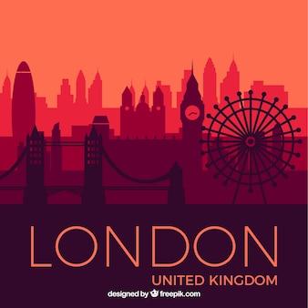 Скайлайн лондона в красных тонах