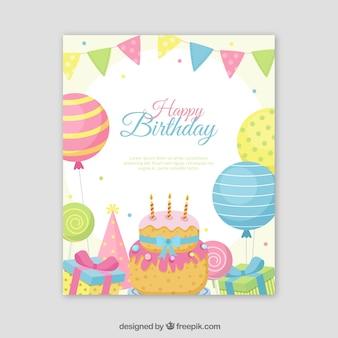 С днем рождения в плоском стиле