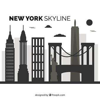 ニューヨークのフラットスカイライン