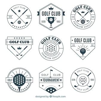 エレガントなゴルフのラベルのセット