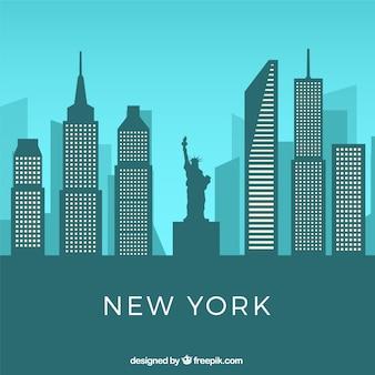 Скайлайн нью-йорк в плоском стиле