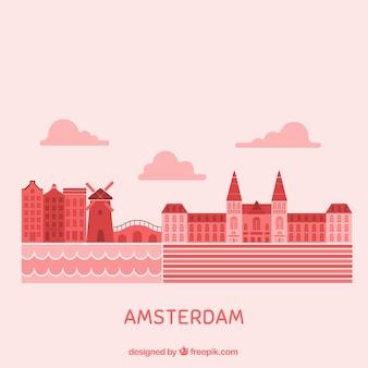 アムステルダムの赤いスカイライン