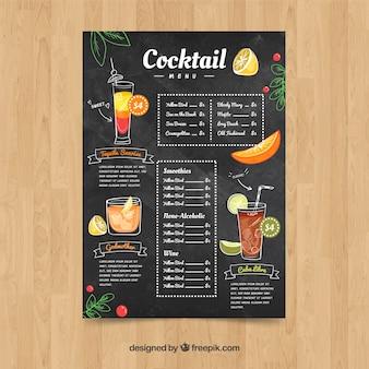 Шаблон меню коктейля в стиле ручной работы