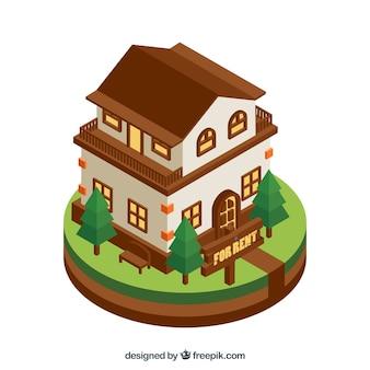 Дом в аренду в плоском дизайне