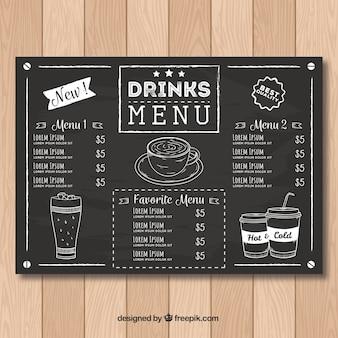 黒板スタイルのレストランメニューテンプレート