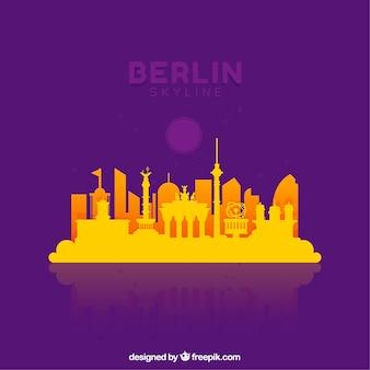 黄色と紫のスカイラインのベルリン
