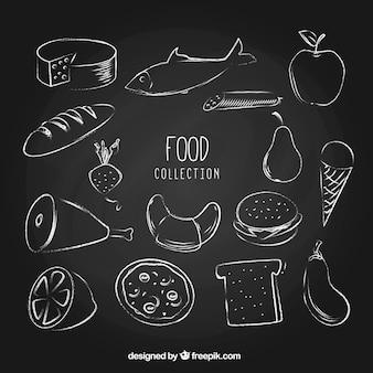 チョークスタイルの食べ物の大きなコレクション