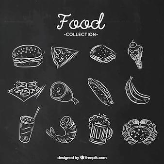 Набор пищевых продуктов в мелом стиле