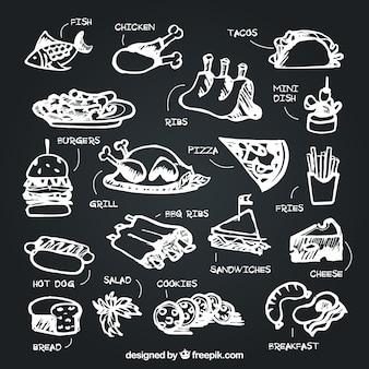 Набор продуктов с описанием в стиле мела