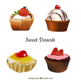 Конфеты коллекции десертов в реалистичном стиле