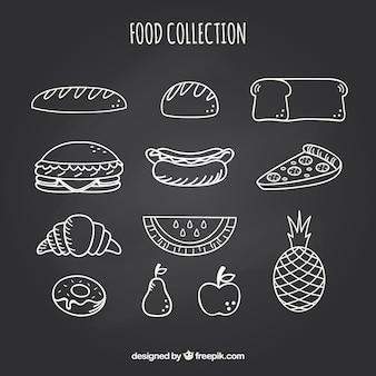様々な食べ物の要素のセットは、黒板のスタイル