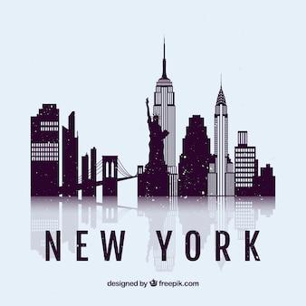 ニューヨーク市のスカイラインのシルエット