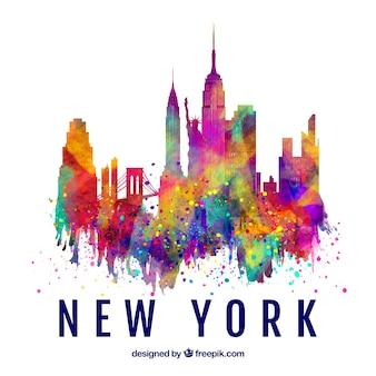色のついたニューヨークシティのスカイラインのシルエット
