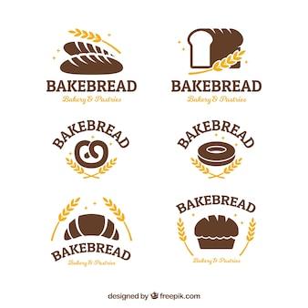 Коллекция пекарных логотипов в плоском стиле